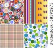 Set colorful geometric seamless patterns (vector, EPS 10) - stock vector