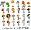 SET cute animals-tiger, lion, rhino, dog, leopard, hippo - stock vector