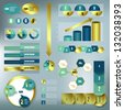 Set elements of infographics. Modern Design gold vector template. - stock vector