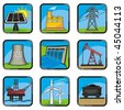 Set energy icons of various ways to produce energy. With no color transparency. - stock vector