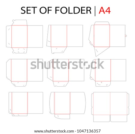 Side seam envelope c4 size die stock vector 1045178071 shutterstock set folder with gusset die cut stamp empty shablon template for a4 documents and business flashek Gallery