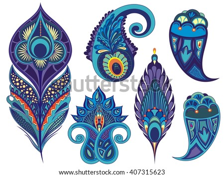 Set for design with peacock feathers, branches, leaves, flowers and decorative elements