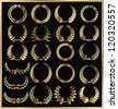 Set from gold laurel wreath on the black background - stock photo