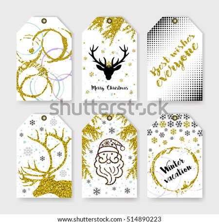 Set gift tags. holiday label in black white and gold. Abstract grunge patterns. Striped textures. Christmas lettering. Happy New Year! Merry Christmas. Gold lettering design with confetti pattern.