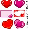 set hearts valentines cards heart - stock vector