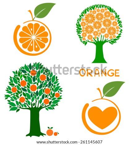 Illustration Cartoon Orange Tree Isolated On Stock Vector ...  Illustration Ca...