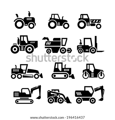 Set icons of tractors farm and