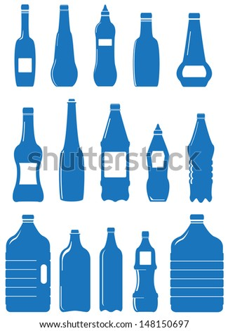 set isolated plastic bottle and can for water