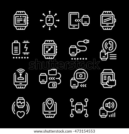 Set line icons of smart watch