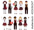 Set many of schoolchildren isolated on white background. Schoolchildren with books and flowers, happy faces. Children international, boys and girls. - stock vector