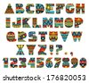 Set of ABC letters with abstract ethnic African patterns. Rich ornate alphabet in African culture style. Fancy multicolored capital letters, schematic shapes. Vector is EPS8, all elements are grouped. - stock photo