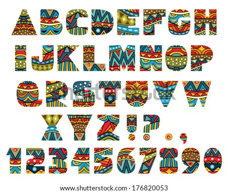 Set Abc Letters Abstract Ethnic African Stock Vector 176820053 ...