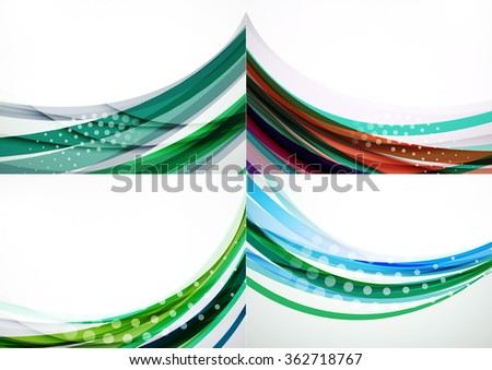 Set of abstract backgrounds. Elegant colorful decorated lines and waves with copyspace for your message