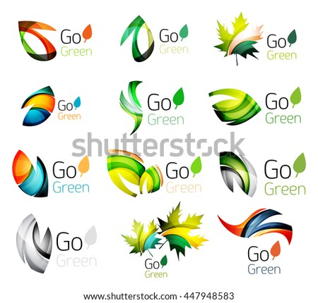 Set of abstract leaves. Nature abstract design - ecology logo concepts, glossy leaf icon collection