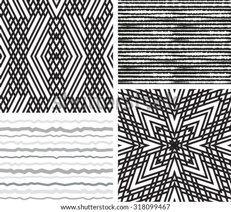 Set of 4 Abstract patterns. Black and white seamless vector backgrounds