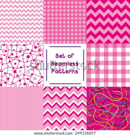 Set of abstract seamless backgrounds with pink pattern,vector illustration