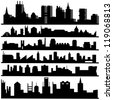 Set Of Abstract Vector Cities Silhouette - Vector illustration On White Background. Logo Symbol - stock vector
