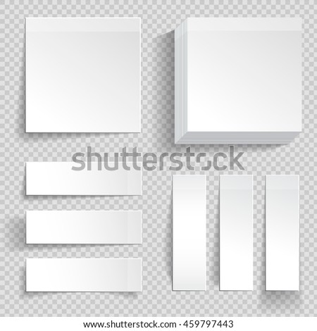 Set of adhesive memo stickers. White note papers with different types of shadow on checked background.