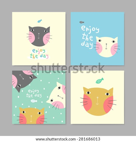 set of adorable greeting cards with lovely cats in different colors