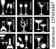 Set of Alcohol Drinks icons. Tumblers set for alcohol drinks, cocktails and ice cream. - stock