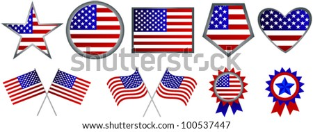 Set of American flag icons