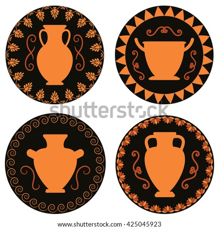 Ancient Greek Vase Set Greek Urn Stock Vector 517489024 - Shutterstock