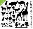 Set of animal and farm silhouette vector - stock vector