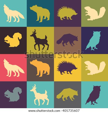 set of animal silhouettes flat and minimalist and flat  style.