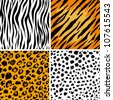 Set of 4 animal skins, seamless patterns - stock vector