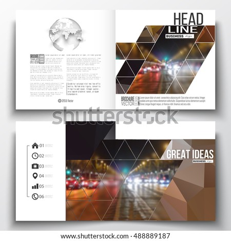 Set of annual report business templates for brochure, magazine, flyer or booklet. Dark polygonal background, blurred image, night city landscape, car traffic, modern triangular texture
