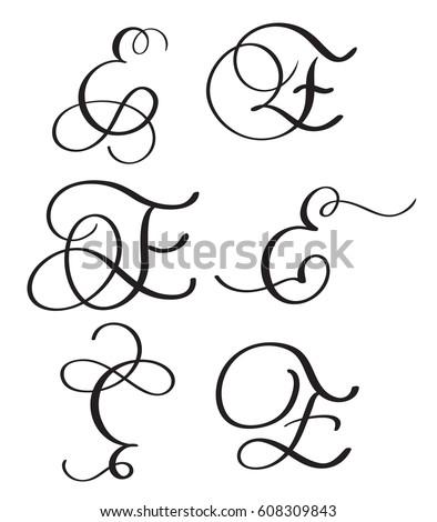 Set Art Calligraphy Letter N Flourish Stock Vector