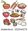 set of asian food in doodle style - stock vector