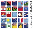 Set of Australian, Oceania Squared Flag Icons - stock vector