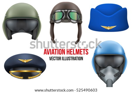 Set of Aviator Helmets and hats. Headgear for aviation professional workers. Vector Illustration Isolated on white background