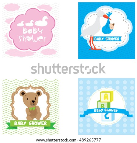 Set of Baby shower graphic designs, Vector illustration
