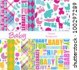 Set of 12 Baby Themed Vector Backgrounds (4 are seamless) - stock vector