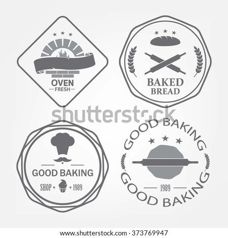 Set of bakery logos, labels, badges and design elements gray background