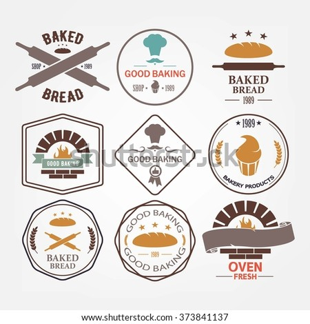 set of bakery products vector logos. retro style
