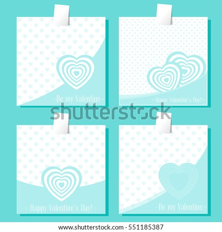 Set of banners Valentines Day with symbols hearts and lettering for concept design poster, greeting card or invitation. Cartoon style. Vector illustration.