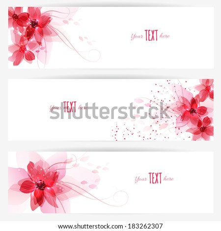 Set of banners with colorful floral elements. Vector design