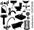 set of bathroom objects vector - stock photo