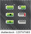 set of batteries with different level of charge, on metal background, illustration - stock photo