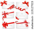 Set of beautiful cards with red gift bows with ribbons Vector - stock photo