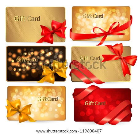 Set of beautiful Gift cards with red gift bows with ribbons Vector illustration.