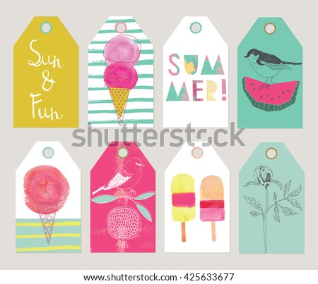 Christmas gift tags labels vector illustration set of beautiful summer gift tags and labels negle Image collections