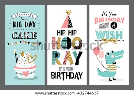 Set Birthday Greeting Cards Design Vector 432744631 – Greeting Cards.com Birthday