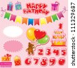Set of Birthday Party Elements for your design with Teddy Bear, Cake, gift boxes, numerals - stock vector
