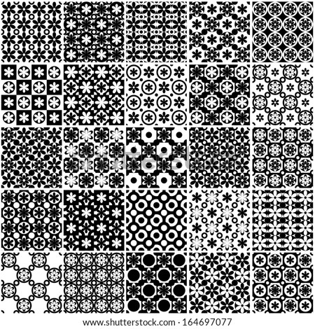Set of black and white seamless background floral patterns.