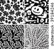Set of black-and-white seamless floral and Halloween ornaments - stock vector