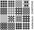 Set of black and white seamless patterns. Vector backgrounds collection. - stock vector